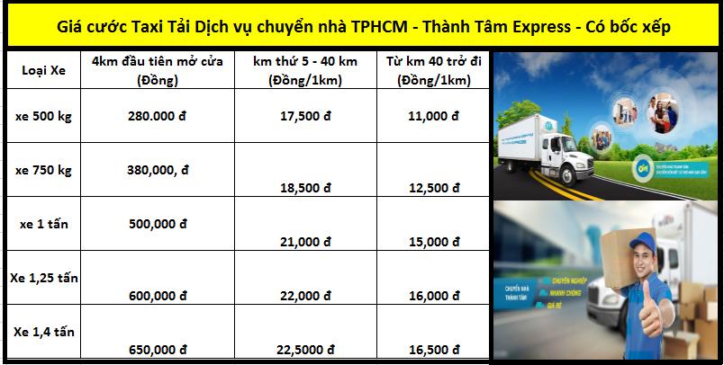Bảng giá cước taxi tải dịch vụ chuyển nhà trọn gói TPHCM - Thành Tâm Express