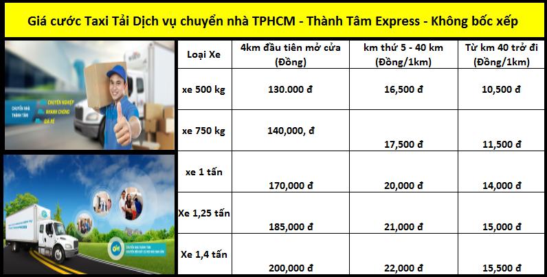 Bảng giá cước taxi tải dịch vụ chuyển nhà TPHCM - Thành Tâm Express